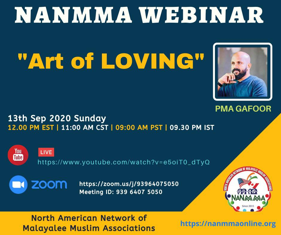 "NANMMA Webinar ""Art of Loving"" by PMA Gafoor"